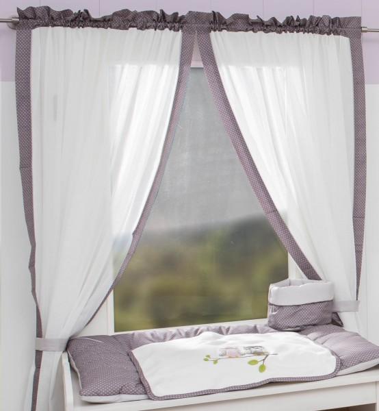 Eulen rosa Vorhang, 2 Schlaufenschals je 100x150