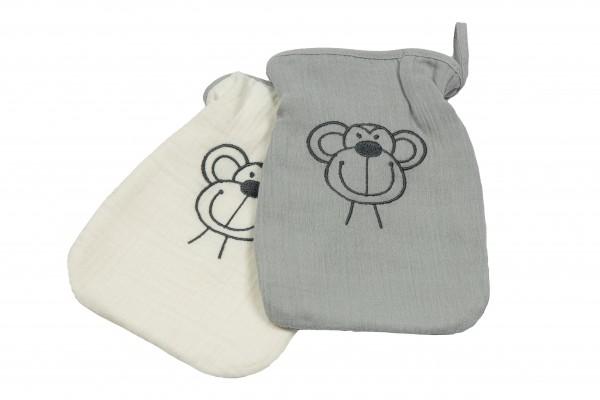 Musselin Waschhandschuh 2er Pack Affe grau