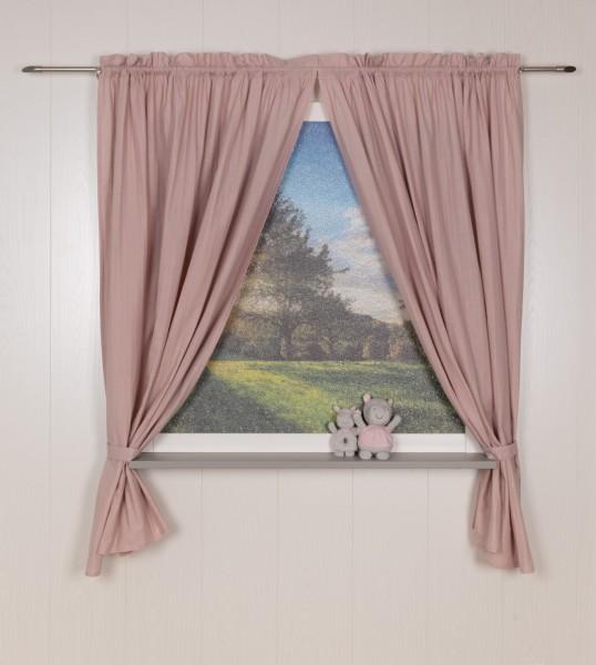 Pünktchen Vorhangschal 2 tlg 100 x 150 cm rosa